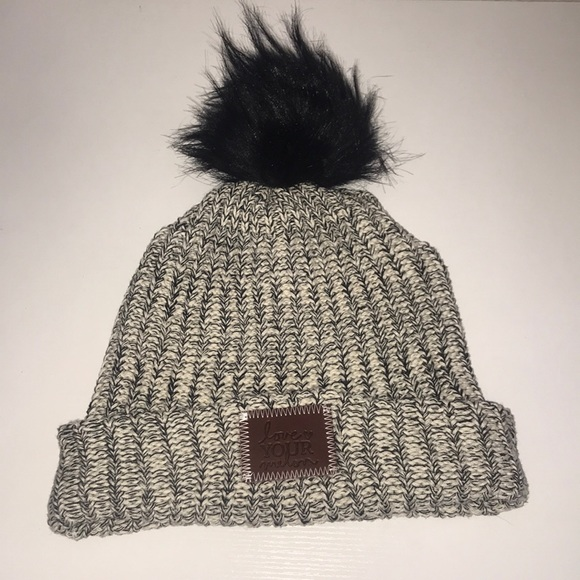 Love Your Melon Accessories - Black Speckled Cuffed Pom Beanie ba1d3c848ac